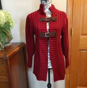 Red buckled cardigan